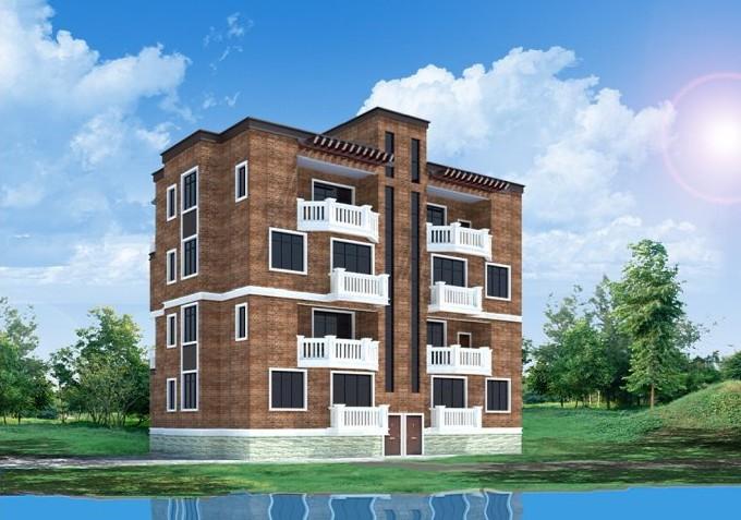 建筑外立面风格总体为现代欧式简约,有两种方案,一个是坡屋顶