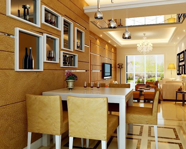 餐厅*背景墙设计现代二居装修效果图