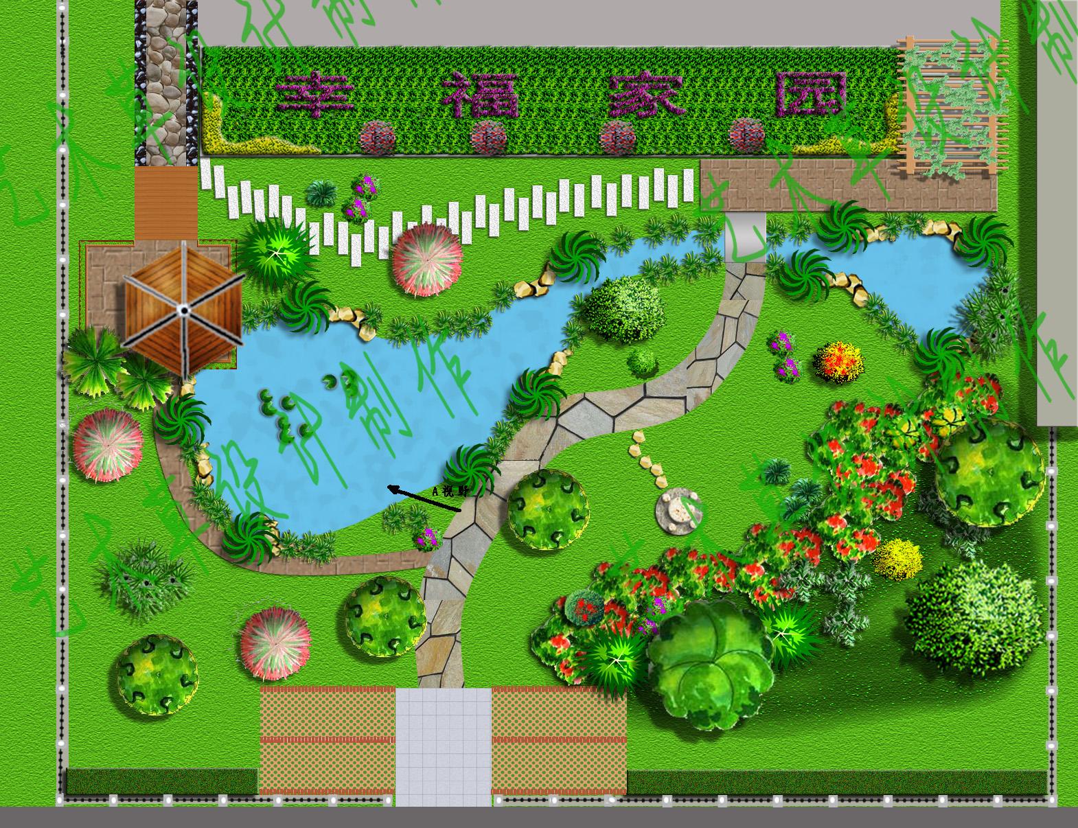 彩平面图_园林设计,私家别墅花园设计