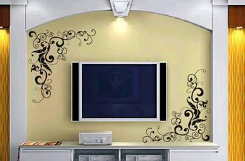 欧式影视墙墙绘画图片