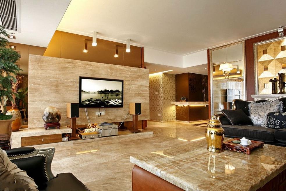 现代石材电视墙效果图