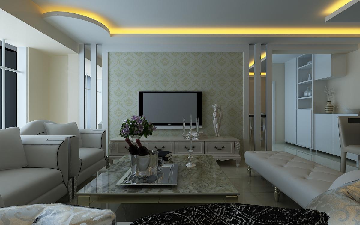 现代简欧风格 客厅 电视墙