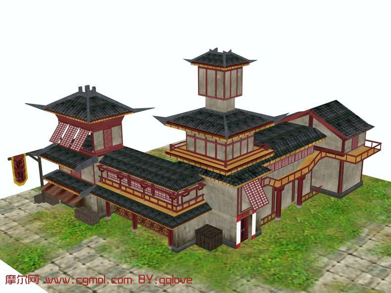 一百二十八间房的古代客栈设计规划图片