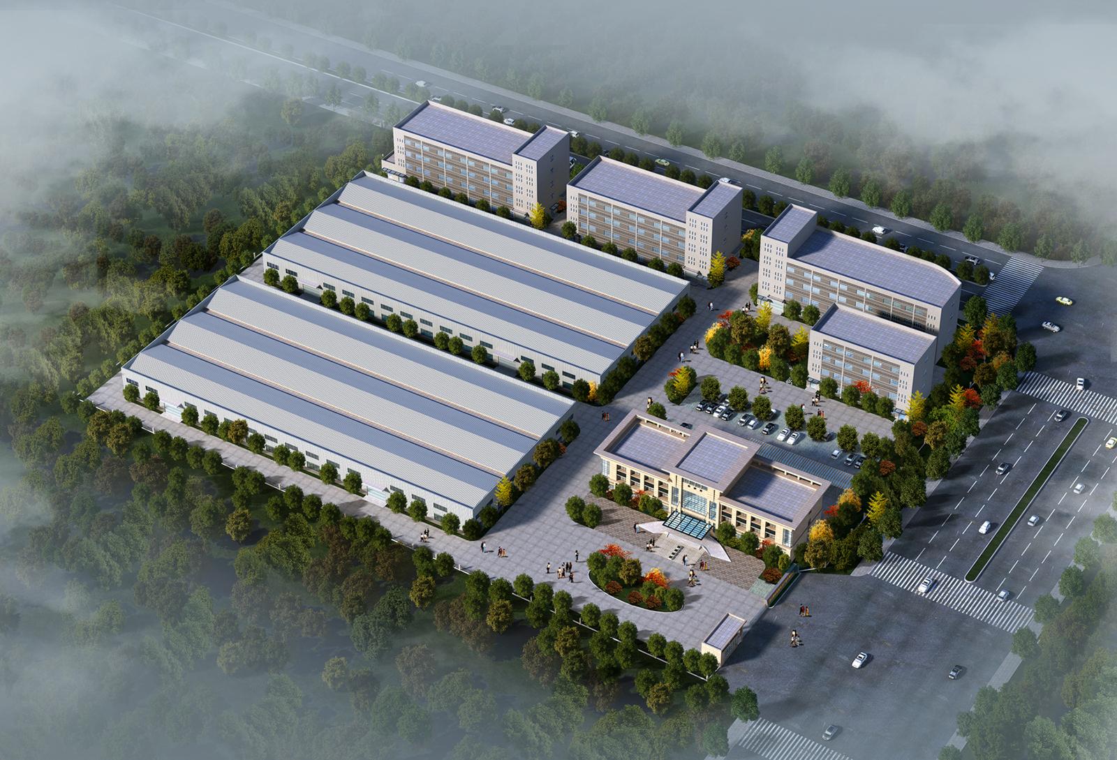本案是厂区的规划设计,包括办公楼和内部的钢结构