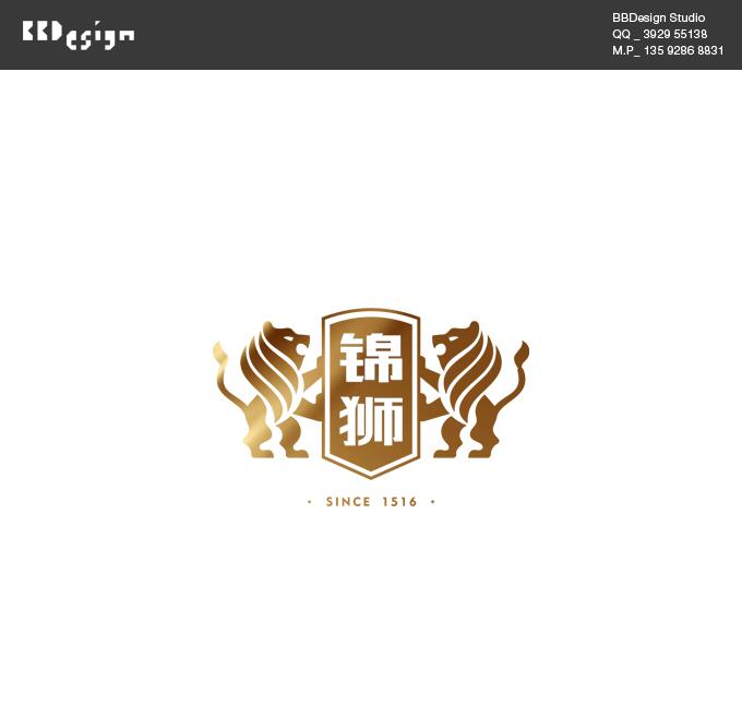 锦狮啤酒商标设计