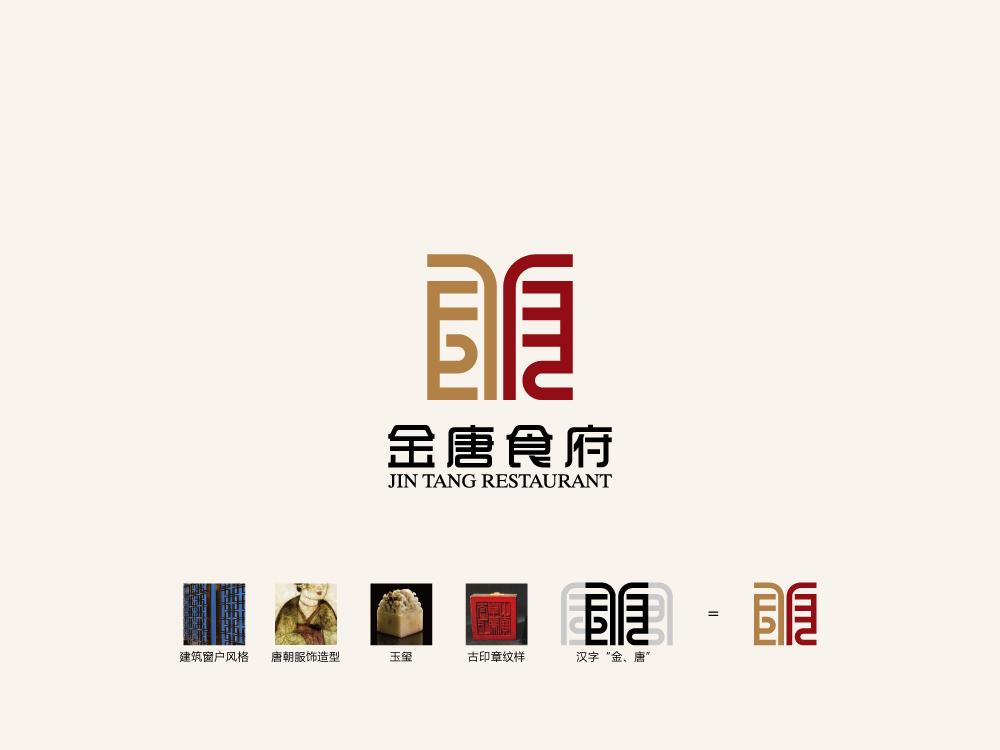 """""""金唐""""中餐厅logo和vi设计"""
