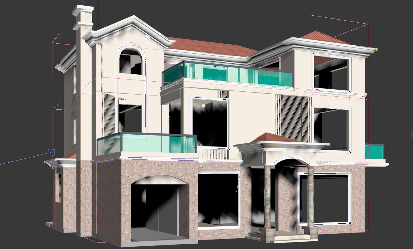 欧式建筑成角透视的分解列子图