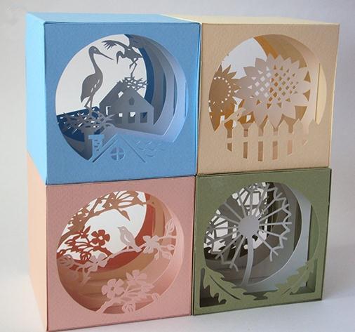 手工创意纸雕立体贺卡完美的组合了纸雕设计和立体