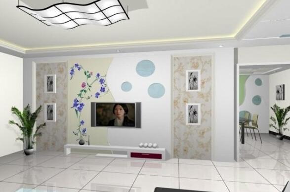 小户型客厅手绘电视墙设计颜色选择
