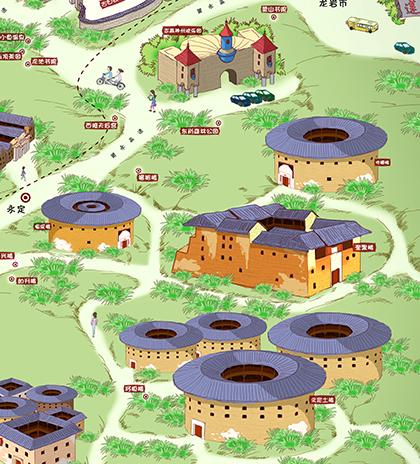 龙岩手绘地图_兮仔设计案例展示