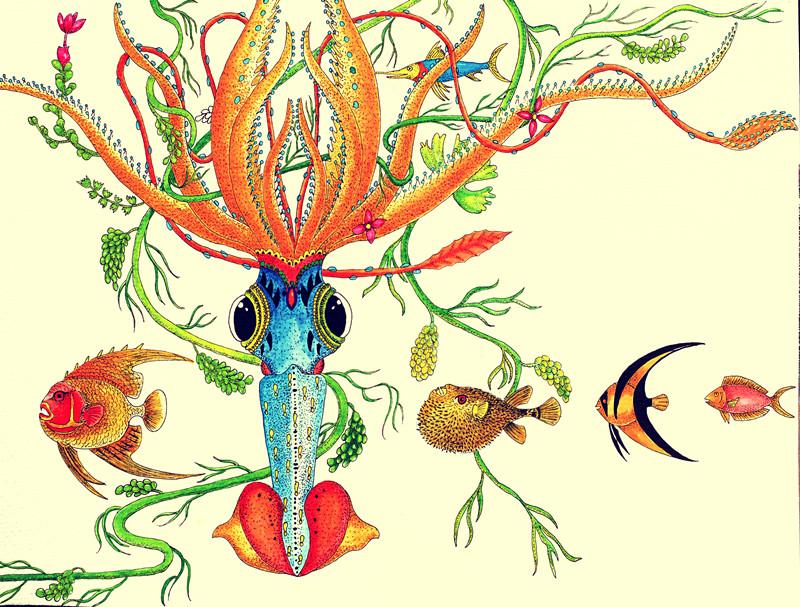 人创作海洋生物水彩画 可出售