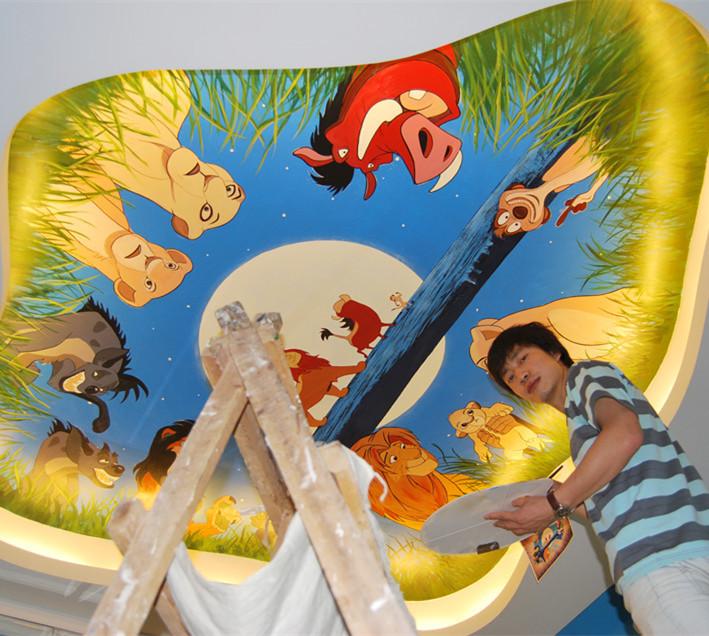 壁画油画丙烯画样板房墙绘动漫卡通墙绘3d画