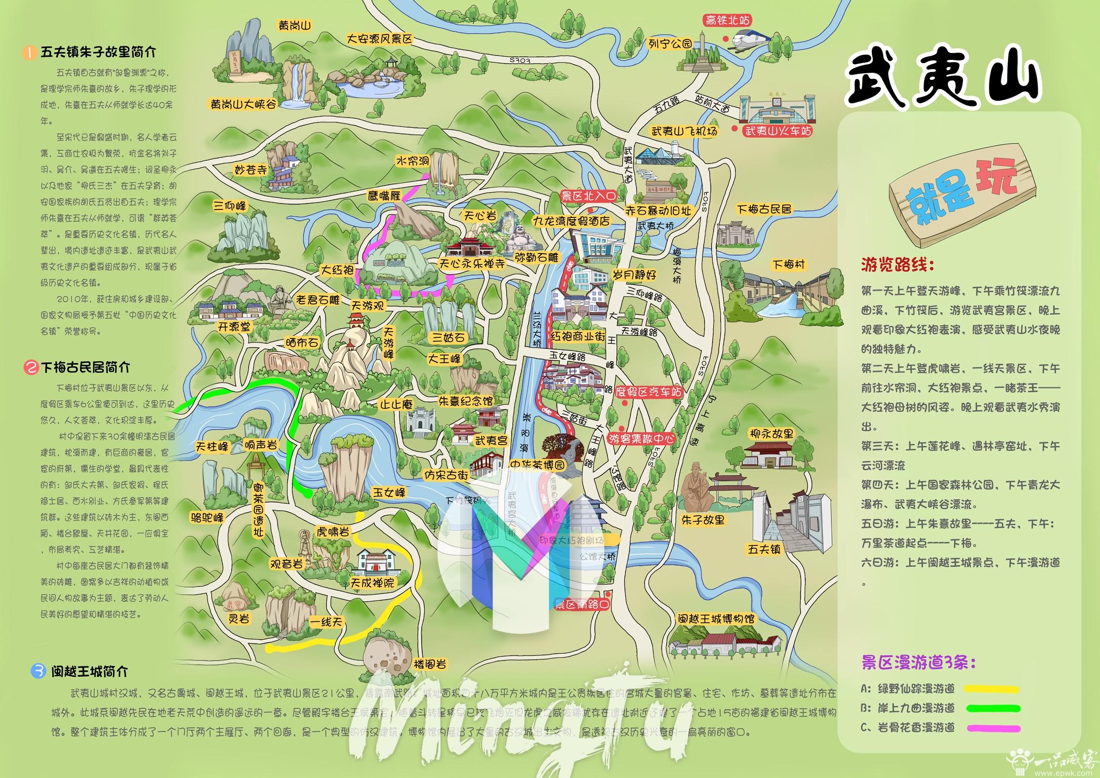 武夷山景区手绘地图