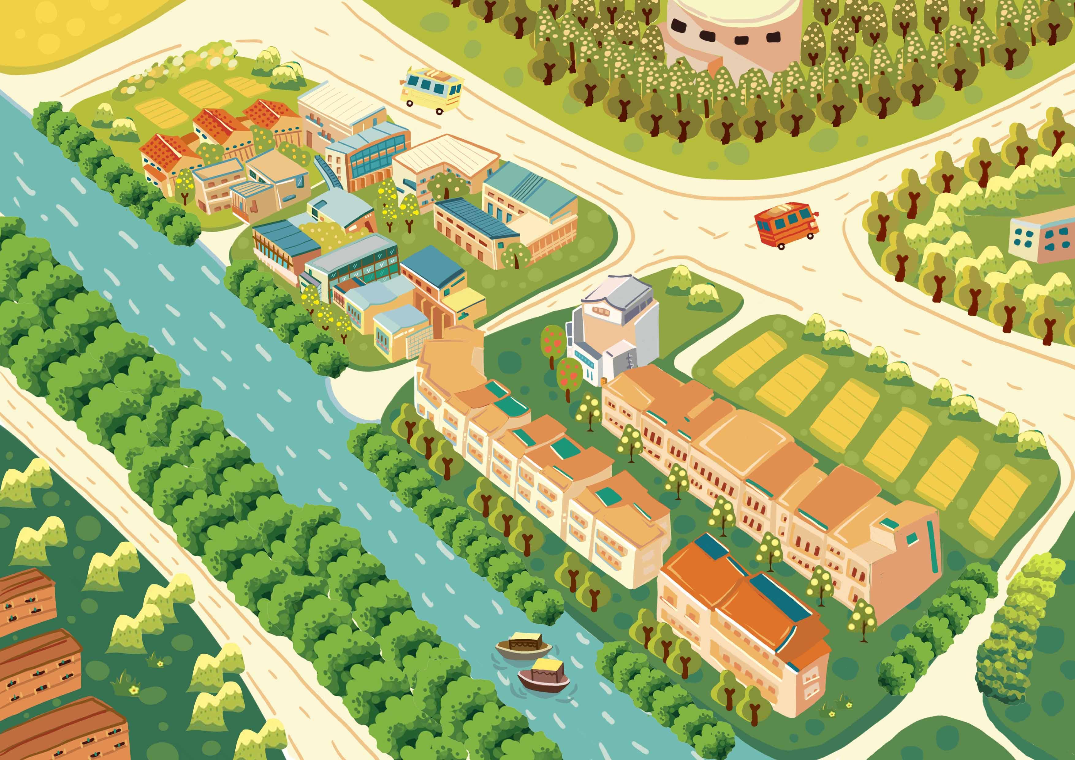 杭州梦想小镇手绘地图