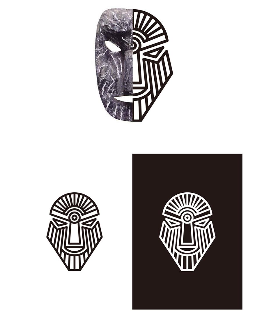 """logo图标原型取自贵州彝族地方戏""""撮泰吉""""面具."""