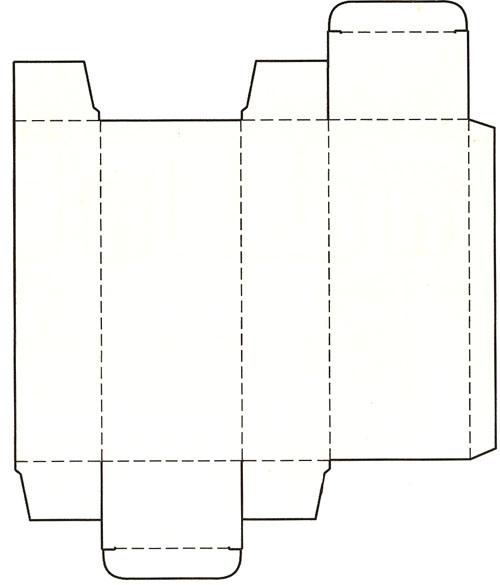 摇盖插入式封底纸盒展开图 3,间壁封底式:间壁封底式结构是将管式