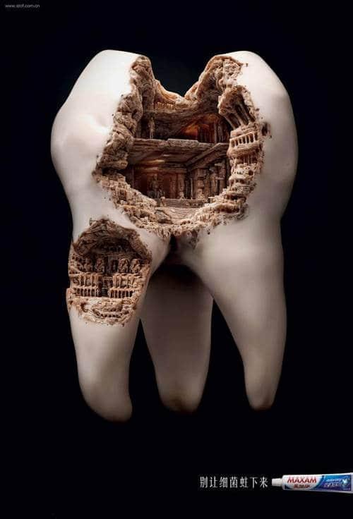 医疗广告素材:蛀牙就像建筑不是一天两天就可以完成的!