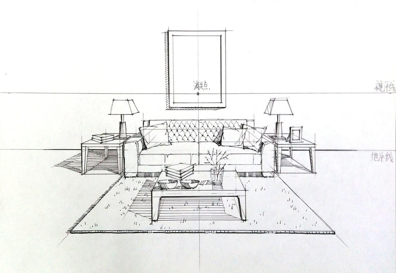 手绘室内设计效果图