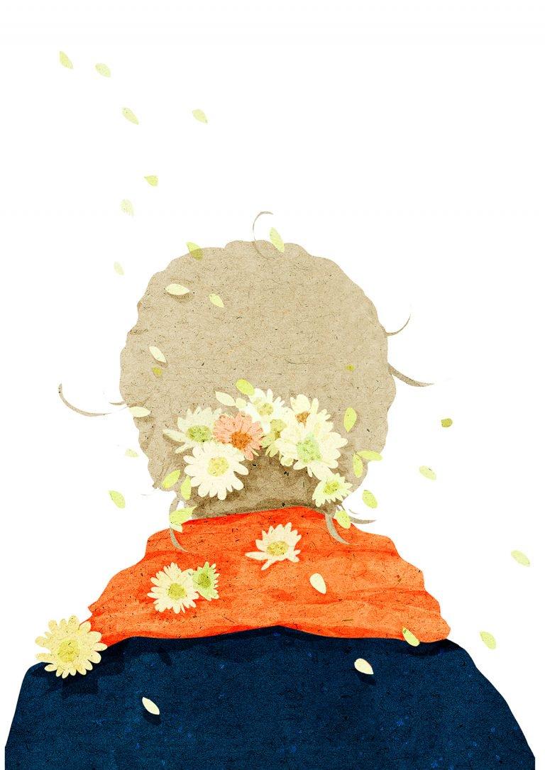色彩淡雅的人物插画作品设计