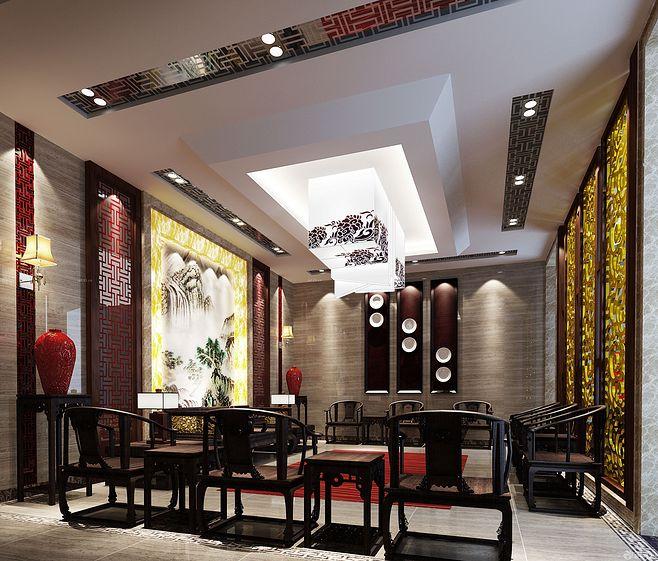 中式家装设计起居室效果图
