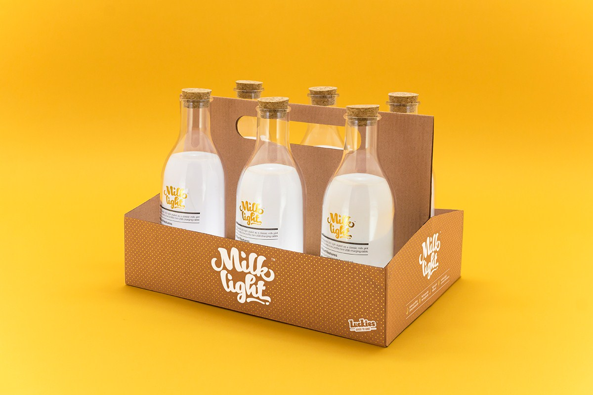 milk bottle migh创意牛奶灯设计