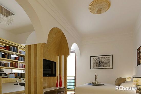 卧室客厅隔断装修效果图7 简约的隔断设计,配以拱门的效果,形成一个