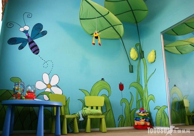 绿意盎然酒店墙体彩绘效果图