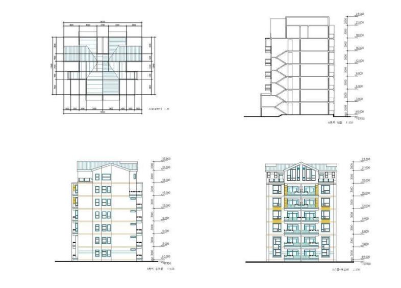 某室内A户型平面及建筑立面结构图