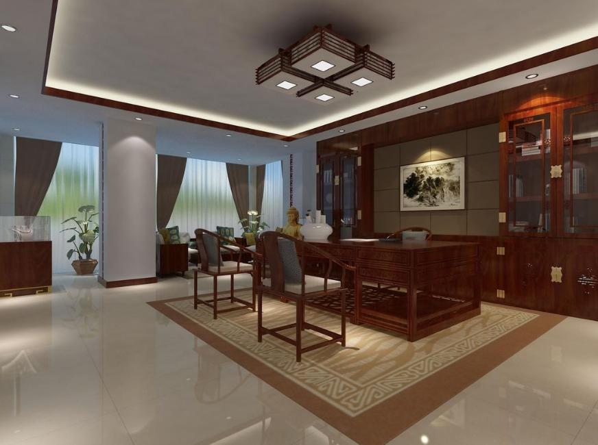 中式办公室3d模型素材