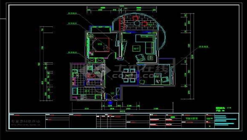 某地区现代风格两房户型住宅装修设计cad施工图纸