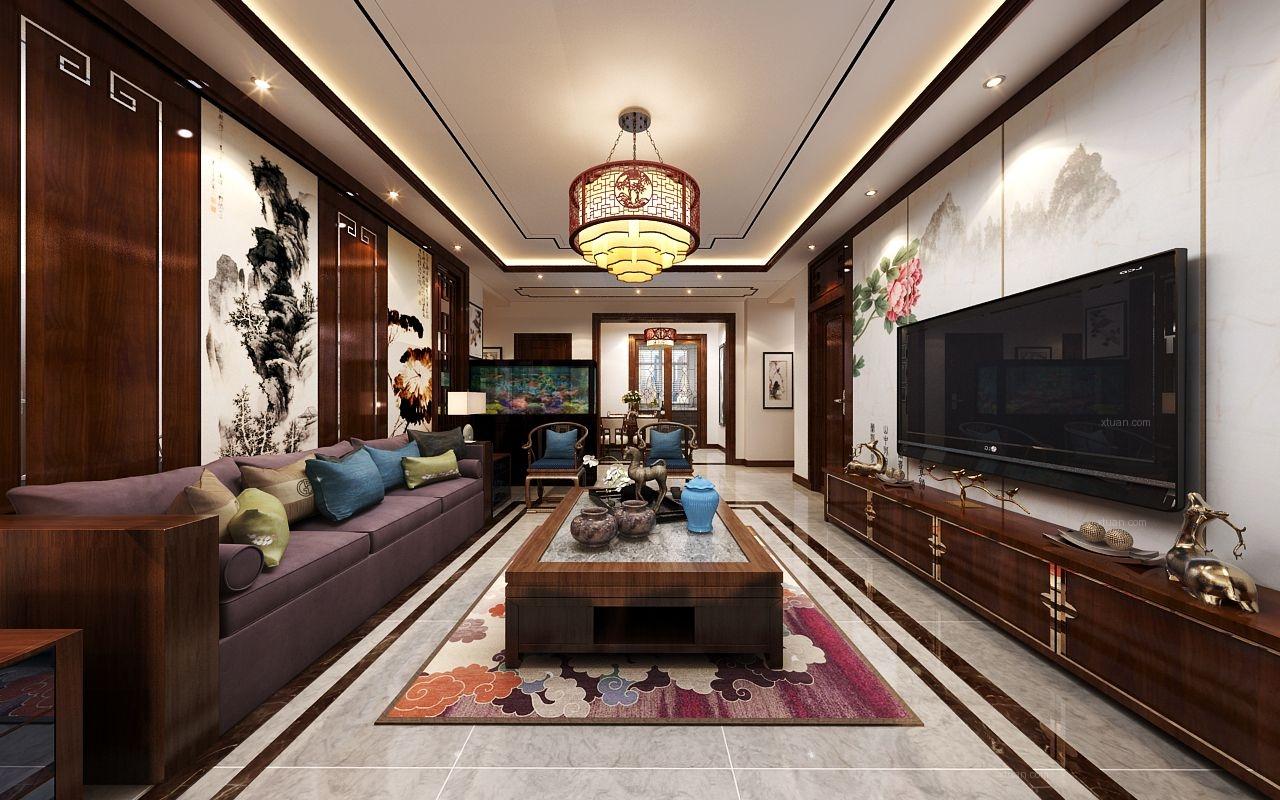 一组非常惊艳的中式客厅装修效果图
