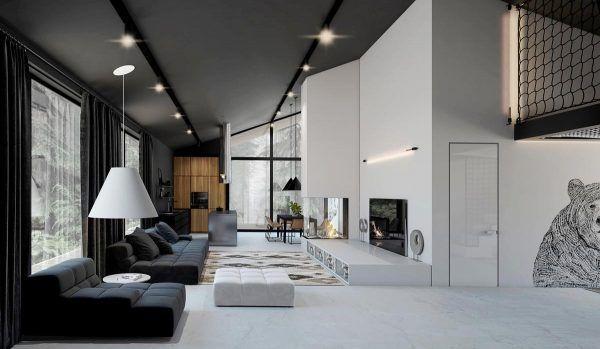 酷酷的黑白林中住宅装修效果图设计