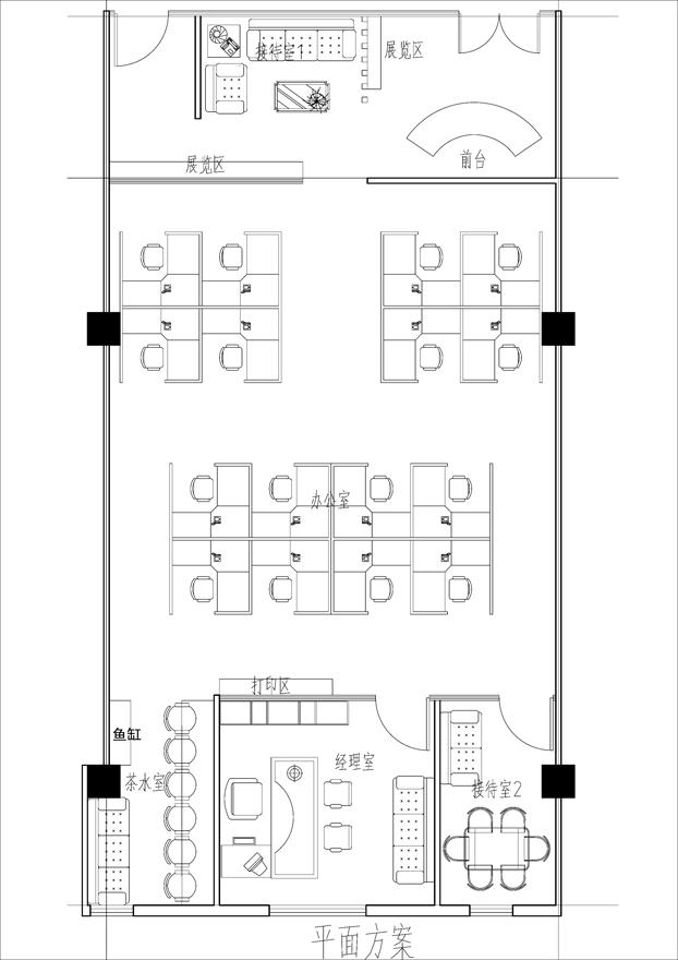 根据雇主给的平面设计办公室空间布局,设计室内空间和效果图