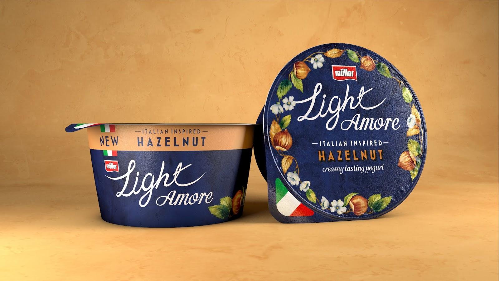 Muller Light Amore意大利风格酸奶包装设计