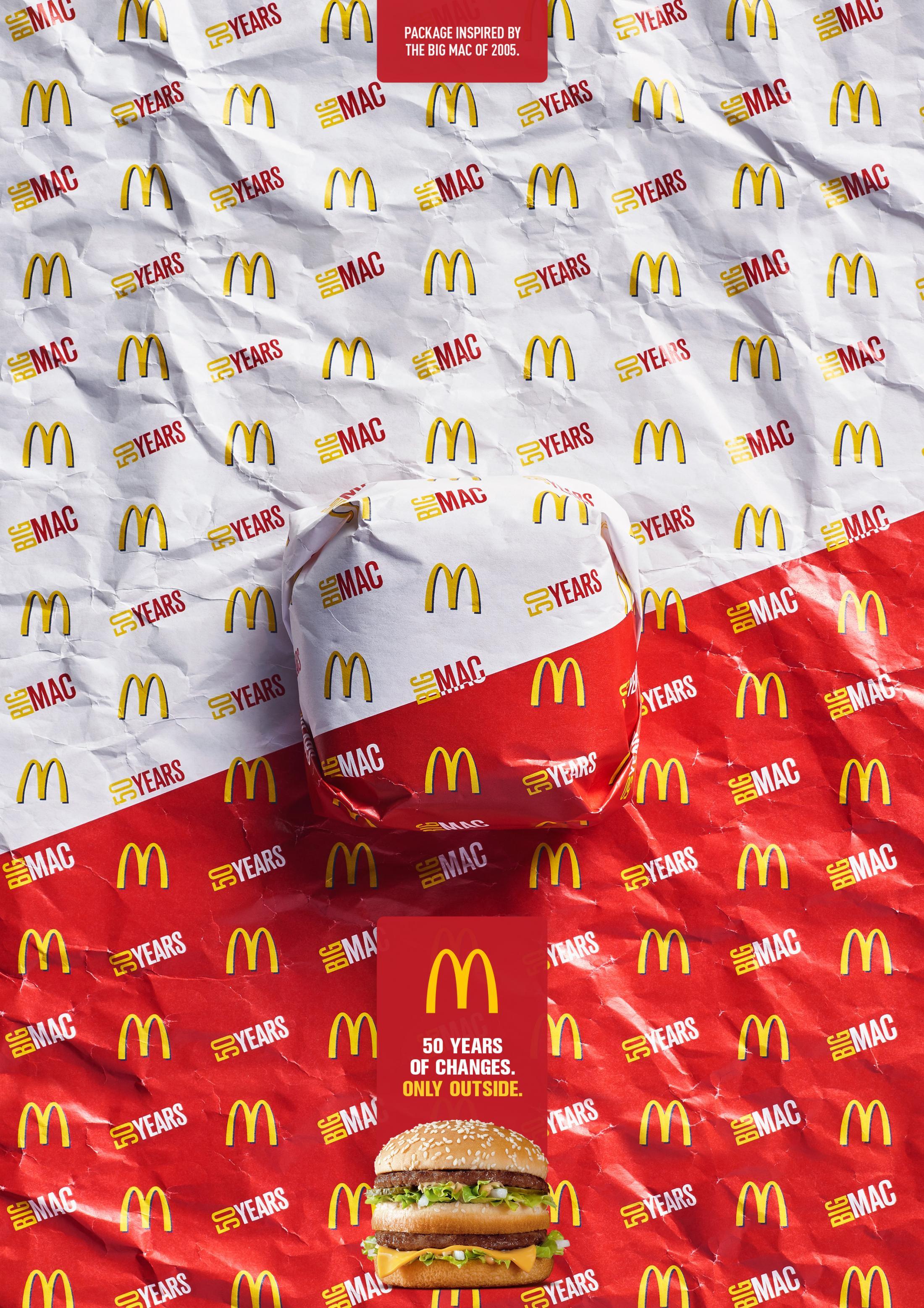 50年的变化,只是在外面的包装:巨无霸汉堡广告欣赏