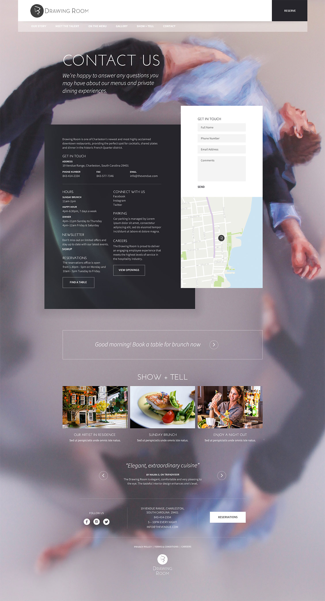 国外Drawing Room餐厅网站设计欣赏