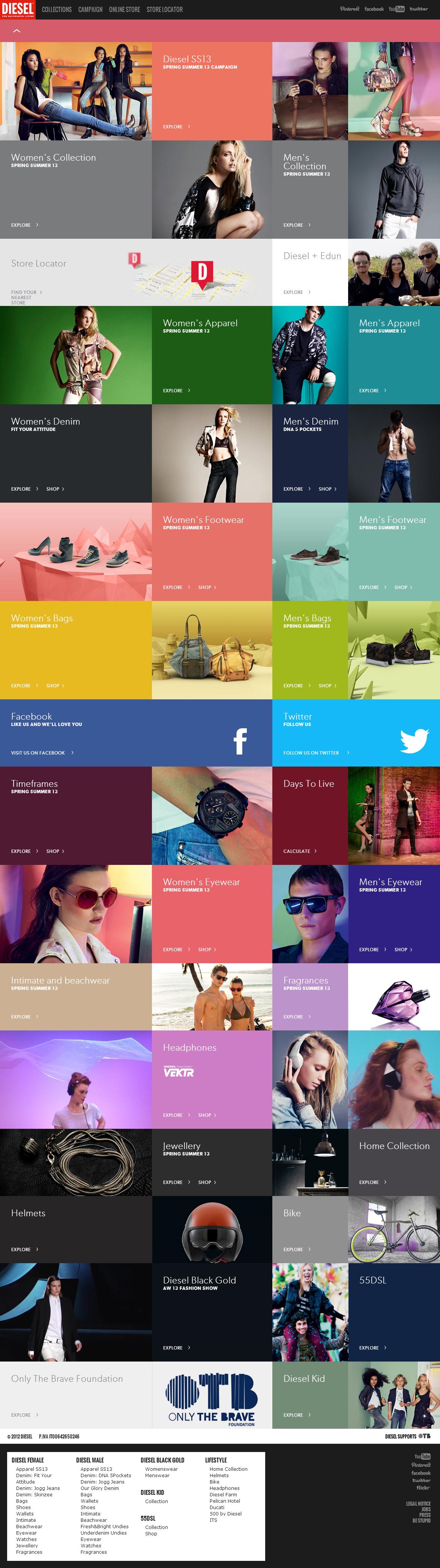 Diesel服饰网站配色设计