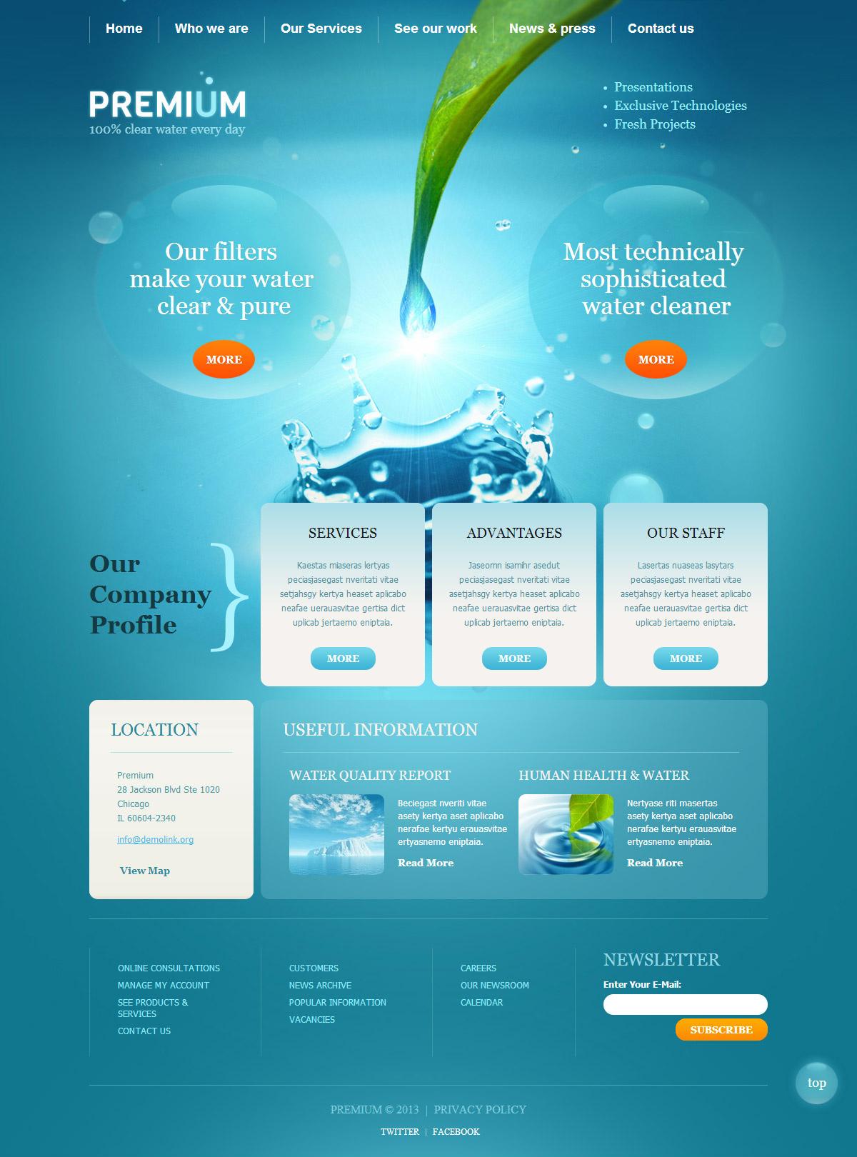 蓝色和白色网页健康,清洁,清爽的感觉网页设计