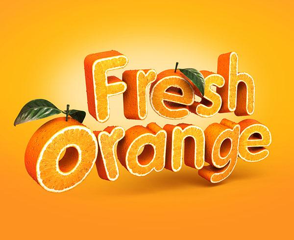 波兰设计师Tomasz鲜橙3D立体字设计