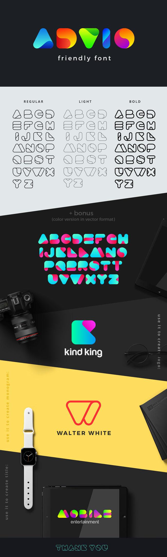 漂亮的Advio friendly英文字体设计
