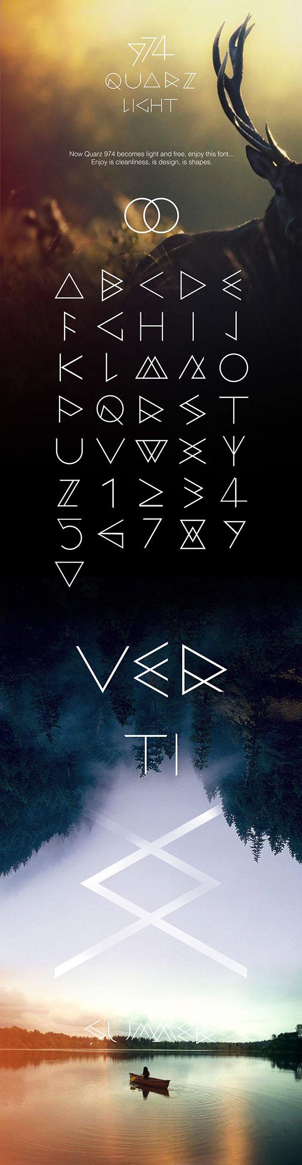 以几何线条和三角形为基础的字体设计