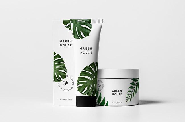 清新的Green House美容护肤品包装设计欣赏