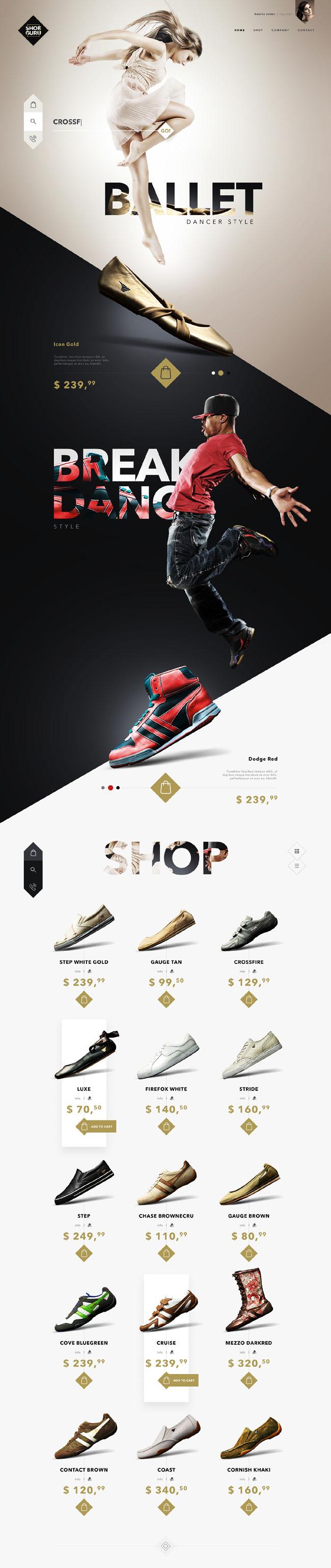 国外SHOE GURU鞋子商城时尚网页设计欣赏
