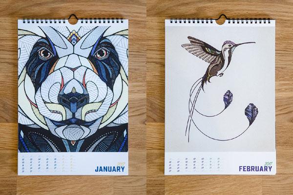 漂亮的2017动物图案年历设计