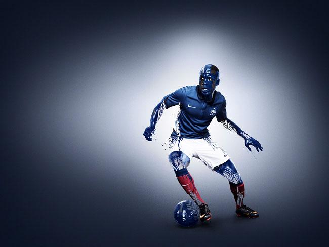 蓝色系列耐克法国国家足球队套服系列视觉设计