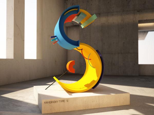 国外字体设计之色彩丰富的KANDINSKY立体字设计25P