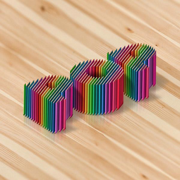 国外五彩缤纷的立体字设计