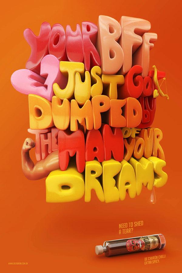 国外喷雾剂创意字体海报设计