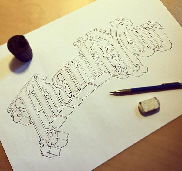 漂亮的手绘英文立体字设计:THANK YOU