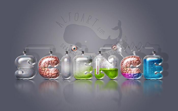 实验室玻璃器皿特效创意字体设计3P